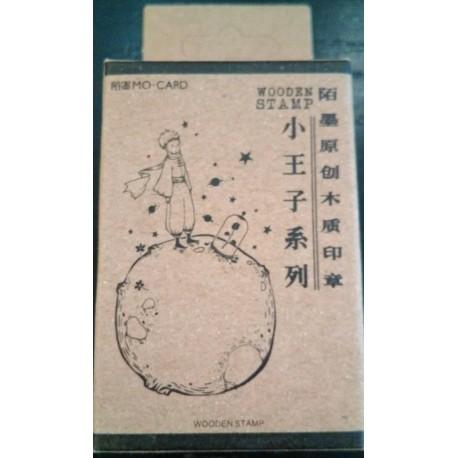 Principito planeta sello madera